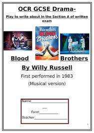 Drama GCSE OCR Blood Bros Pupil Workbook By Liv W