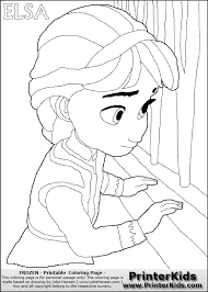 Young Elsa Frozen Coloring Pages
