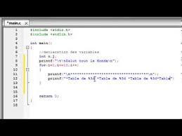 les tables de multiplication langage c samir 7