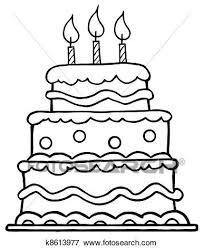 Clip Art Outlined Birthday Cake Fotosearch Search Clipart Illustration Posters Drawings