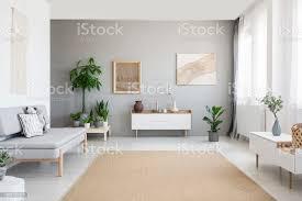 poster auf graue wand über weißen schrank innen helles wohnzimmer mit sofa und teppich echtes foto stockfoto und mehr bilder baum