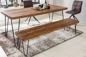 finebuy sitzbank 180 x 40 cm harlem sheesham holz bank für esstisch massiv küchenbank massivholz essbank ohne lehne für esszimmer