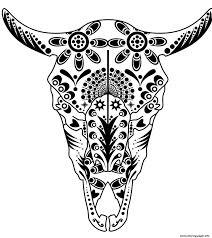 Sugar Skull Coloring Pages Printable Print Cow Pitbull Advanced Calavera Mask Sheet Free