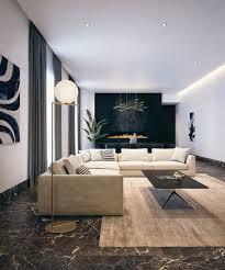 schwarzer marmor boden wohnzimmer beige polstermöbel