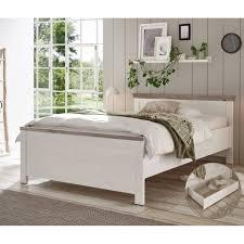 lomadox schlafzimmer set ferna 61 spar set 2 tlg bett 140x200 cm mit bettkasten in pinie weiß nb mit absetzungen in pinie dunkel nb b h t