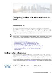 Configuring IP SLAs UDP Jitter Operations For VoIP | Voice Over Ip ... Patent Us7372844 Call Routing Method In Voip Based On Prediction Netops Meets The 21st Century Extrahop Argus 145 Plus Voip Demo Wavetel Test Mos Rtp Pesq Youtube Prsentationarg145pluseradslvoiptestanruf Audio Codecs Impact Quality Of Based Ieee80216e Enkapsulasi Voip Outside Voice Control Scenario Over Wireless Lan Vowlan Troubleshooting Guide Voip Paradocx Ip Network Packet Information Free Fulltext Evaluation Qos Performance Indreye01 Access Point User Manual 7signal
