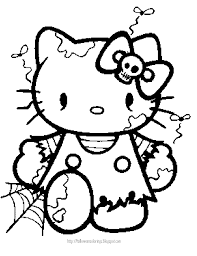 Free Hello Kitty Halloween Coloring Pages Within