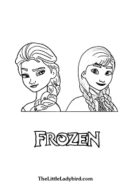 Anna And Elsa From Frozen Coloring Page