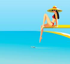 Beautiful Woman Posing On Diving Board Above Ocean