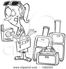 Cartoon Black And White Excited Traveling Woman Reading A Guide By Luggage Toonaday
