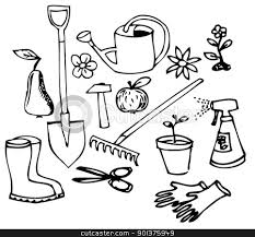 gardening clip art black and white 07