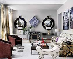 Two Wall Mirrors In Black Frames For Living Room Decorating