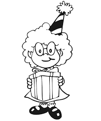Birthday Coloring Page Girl With Gift