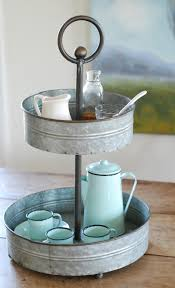 Galvanized Two-Tiered Tray | Farmhouse Wares - Items Wanted ... Pottery Barn Asian Square Green 6 Inch Dessert Snack Plates Shoaza Ding Beautiful Colors And Finishes Of Stoneware Dishes 2017 Ikea Hack We Loved The Look Of Pbs Catalina Room Dishware Sets Red Dinnerware Fall Decorations My Glittery Heart Kohls Dinner 4 Sausalito Figpurple Lot 2 Salad Rimmed Grey Target