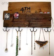DIY Jewelry Hanger Using Wooden Slabs For Mini Shelf And Hooks