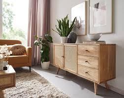 design sideboard 140x75x40 cm mango massivholz kommode 3 schubladen hoher kommodenschrank holz massiv standschrank wohnzimmer 2 türfächer