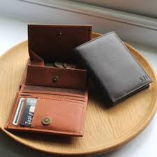 personalised mens leather wallet with coin pocket by nv london