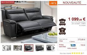 avis vente unique canape canapé 3 places relax électrique paosa en cuir anthracite pas cher
