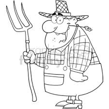 Royalty Free black and white outline of a cartoon farmer vector clip art image EPS SVG PDF illustration