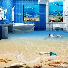 kostenloser versand hd dolphin shell wc schlafzimmer 3d boden tapete badezimmer wohnzimmer boden fliesen