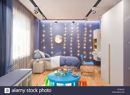 100 Interior Design Kids 3d Illustration Of The Kids Bedroom In Deep Blue Color