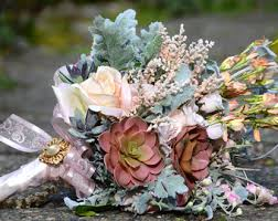 Succulent Bouquet Bridal Silk Flower Mint And Peach
