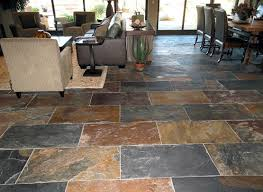 Natural Slate Flooring Ideas For Your House On Living And Dining Room