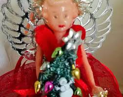 Black Angel Christmas Tree Topper Uk by Tree Toppers Vintage Etsy Uk