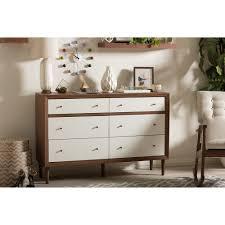 6 Drawer Dresser White baxton studio harlow mid century modern scandinavian style white