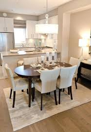 Kitchen And Dining Room Ideas Decor Contemporary Style With Dark Oval Table Upholstered Chairs In A Open
