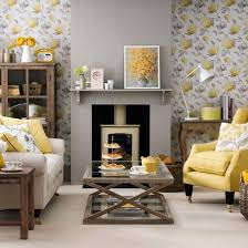 pale grey living room with yellow fireplace living room decorating