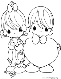 Kids On Valentines Day Coloring Page