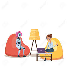 Robot And Woman With Laptop In Bean Bag Chair. Successful Businesswoman.. The Coffee Time Style Bean Bag Chair Garden Camping Beanbag Cover Lazy Sofa Anywhere Portable Sitting Cushionin Living Room Chairs From Fniture On 2017 New Hot Sale Modern Leather Set L Armchair With Coffee Bag Chair Round Table Outdoor Cover West Elm Canada Pallet Ottoman Biggie Bags Xl Size Cream Empty New Premium Soft Replica Tolix In Gunmetal Cushion Cafe Chevron Sack 5 Ft Multiple Colors Rustic Pig A French Feed Refinished Diy Fufsack Wide Wale Corduroy 7foot Xxl