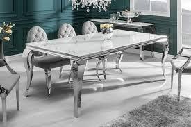 eleganter esstisch modern barock 200cm glasplatte in marmoroptik edelstahlbeine esszimmertisch konferenztisch