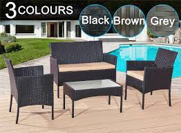 RATTAN GARDEN FURNITURE SET 4 PIECE CHAIRS SOFA TABLE OUTDOOR PATIO ... Shop Aleko Wicker Patio Rattan Outdoor Garden Fniture Set Of 3 Pcs 4pc Sofa Conservatory Sunnydaze Tramore 4piece Gray Best Rattan Garden Fniture And Where To Buy It The Telegraph Akando Outdoor Table Chair Hog Giantex Chat Seat Loveseat Table Chairs Costway 4 Pc Lawn Weston Modern Beige Upholstered Grey Lounge Chair Riverdale 2 Bistro With High Webetop Setoutdoor Milano 4pc Setting Coffee
