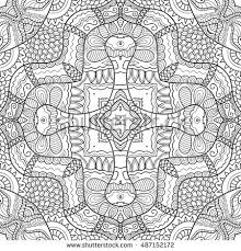 Boho Sketch Pattern For Coloring Book Page Banners Cards Seamless Texture Ethnic