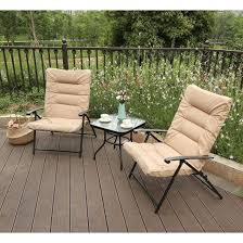 PHI VILLA Patio Padded Folding Chair 3 PCS Outdoor Indoor Adjustable  Reclining Chair Patio Bistro Set With Coffee Table