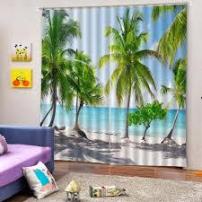 blickdicht gardinen wohnzimmer ösenschal verdunkelungsvorhang dekoschal kokosnussbaum 170 x 200 cm