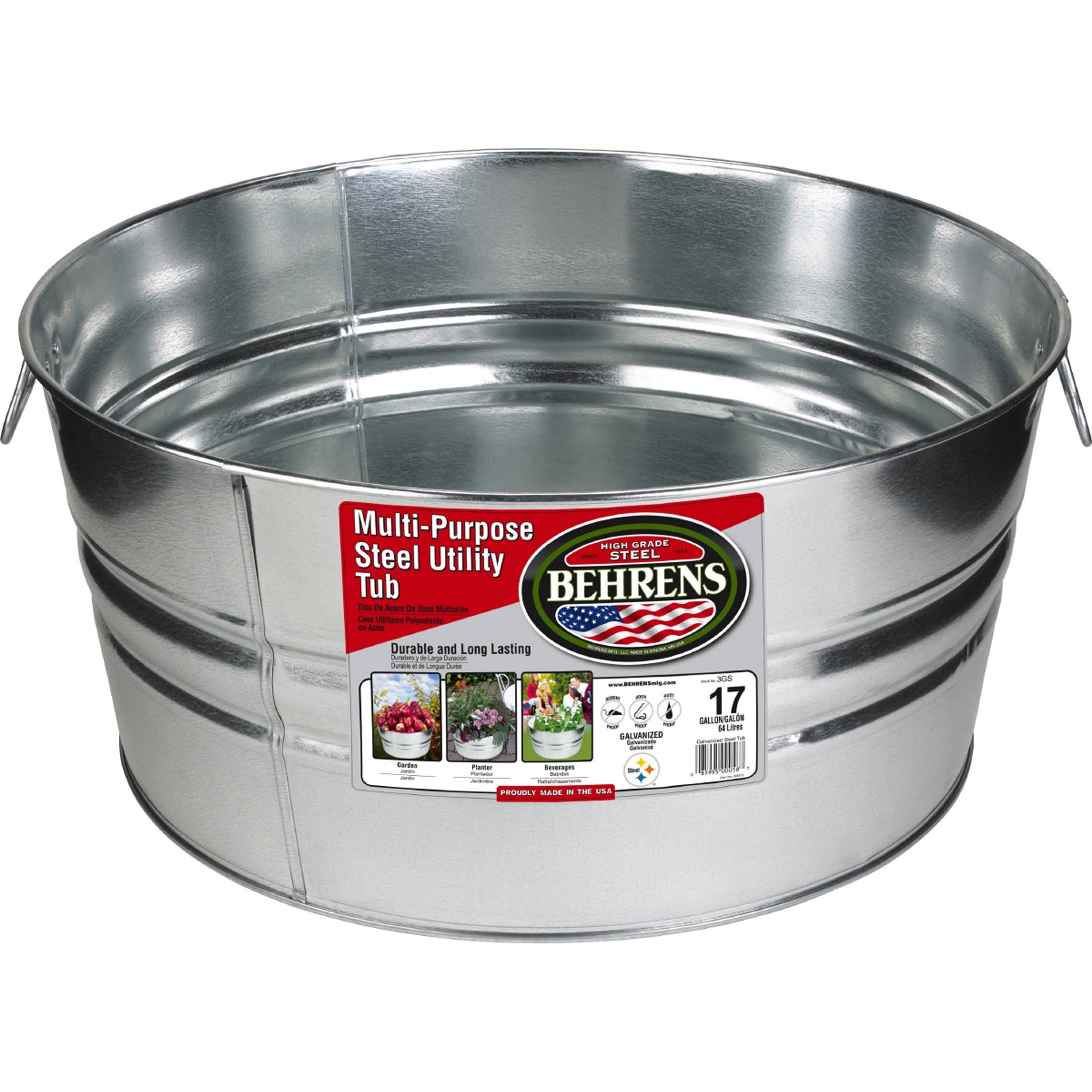 Behrens 3GS Steel Tub - Round, Galvanized, 17gal