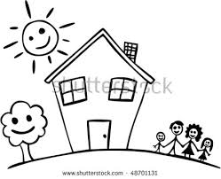 Vector Child Drawing Happy Family House Stock Vector
