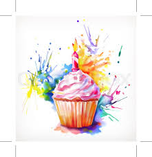 Watercolor painting festive cupcake with candle vector illustration isolated on a white background Stock Vector