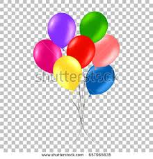 Bunch of colorful helium balloons isolated on transparent background Party decorations for birthday anniversary