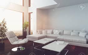 moderne wohnzimmer interieur mit erker und übergroßen panoramafenstern und weißen mit einem sonnenstrahl beleuchtet der seite 3d rendering