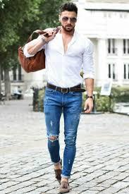 Street Style For Men Blue Denim White Shirt Look Mens Fashion