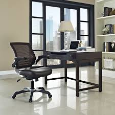 amazon com modway edge mesh back and brown vinyl seat office