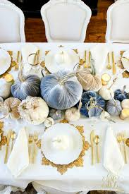 Velvet Cashmere Feather And Lace Pumpkins From Hot Skwash Line The Middle Of Our Table In Shades Gray Blue Cream They Are So Beautiful On Their