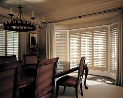 Amazing Hunter Douglas Plantation Shutters On Bay Window With Covering Ideas