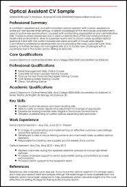 Optical Assistant CV Sample
