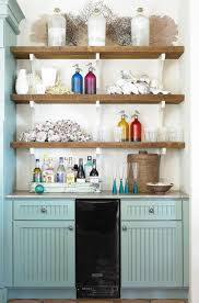 Wooden Shelves Above Beverages Bar Lowbudget Ideas And Ways To Bring The Summer Kitchen Decorating On A Budget Full Size Of Small With