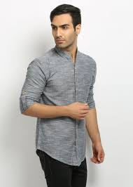 Nickjess Mens Grey Mandarin Collared Slub Linen Shirt